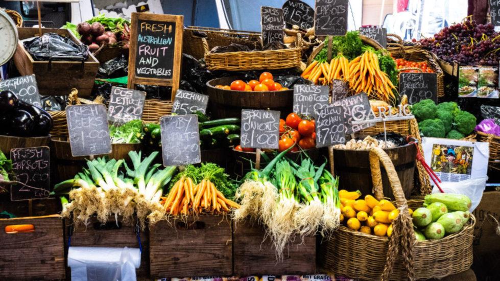 display of vegetables in market
