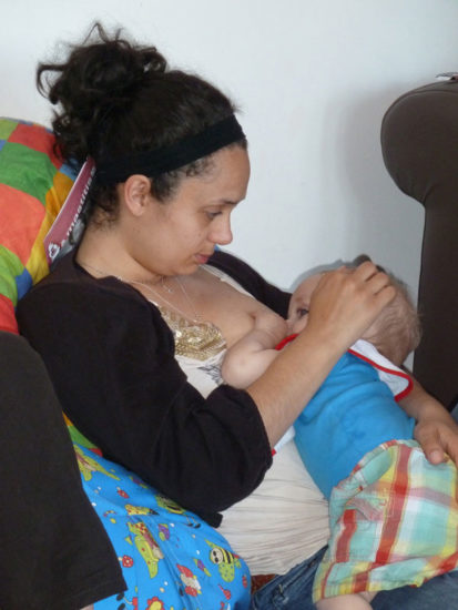 Breastfeeding in a reclining straddle hold