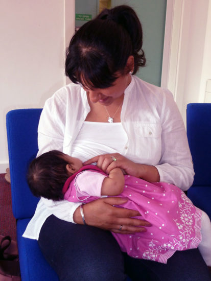 Breastfeeding in cradle hold